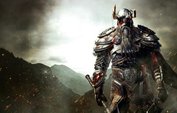 Picture mountains, sword, armor, beard, axe, Viking, Viking, The elder scrolls, The Elder Scrolls Online