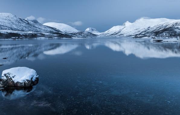 Picture snow, mountains, lake, island, Norway, Senja