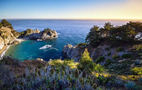 Picture nature, the ocean, rocks, Bay, California