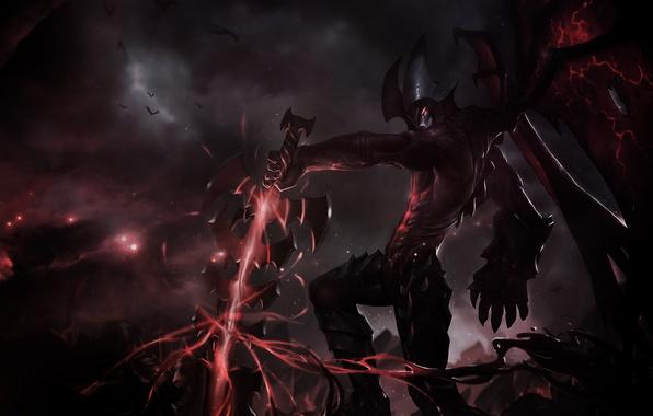 Picture cracked, magic, dark, wings, sword, art, Montr, League Of Legends, Aatrox