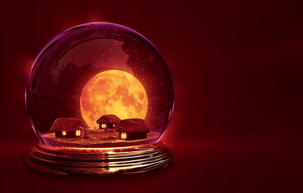 Picture winter, snow, background, holiday, Wallpaper, the moon, new year, ball, tale, houses, wallpaper, house, new …
