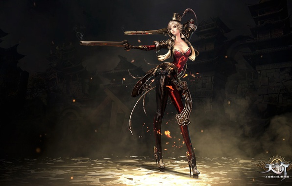 Picture fire, red, flame, girl, sword, gun, pistol, rock, game, weapon, hat, woman, online, dust, ken, …