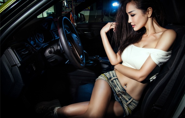 Picture BMW, Girl, Legs, Model, View, 3 Series, Wheels, Hair, Shirt, Mike, Photoshoot, Korean, F35, Salon, …