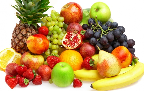 Picture berries, apples, orange, strawberry, grapes, bananas, fruit, pineapple, peaches, pear, fruits, berries