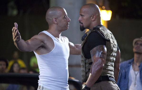 Picture look, VIN Diesel, Dwayne Johnson, Vin Diesel, Dwayne Johnson, Fast and furious 5, Fast Five