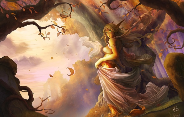 Picture autumn, forest, leaves, elf, art, elf, ears