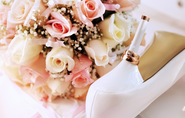 Picture flowers, holiday, shoes, ring, ring, shoes, heel, wedding, holidays, wedding