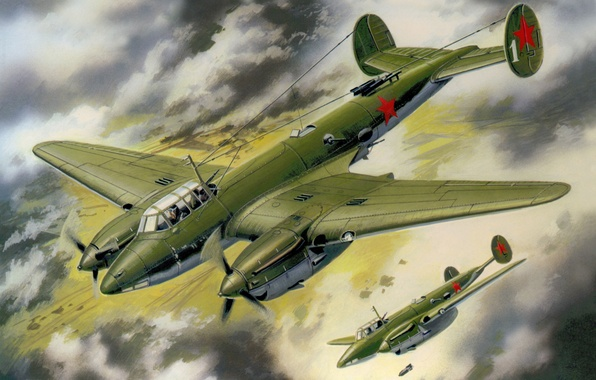 Picture the sky, figure, art, bombers, PE-2, Soviet, dive, WWII, bombing