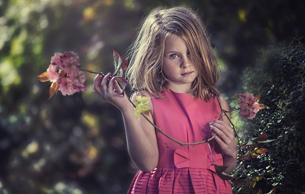 Picture look, cherry, mood, branch, girl, freckles, red, redhead, flowers, freckled