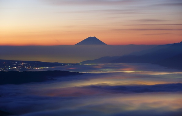 Picture clouds, landscape, mountains, nature, the city, dawn, Japan, Fuji, glow, haze