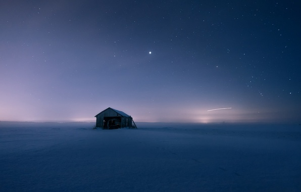 Picture field, snow, night, house