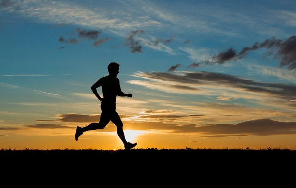 Picture the sky, the sun, clouds, sunset, background, Wallpaper, sport, silhouette, running, male, guy, widescreen, full …