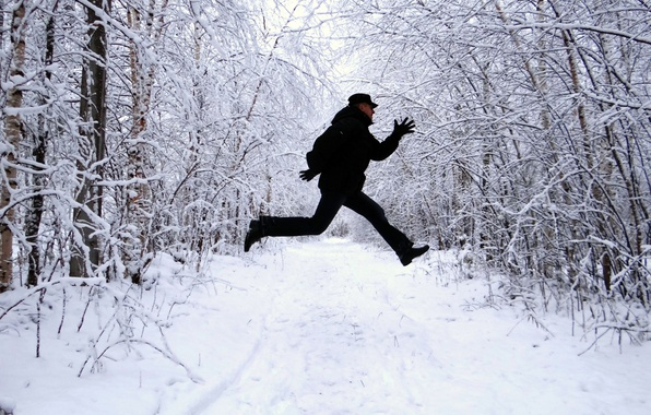 Picture FOREST, JUMP, SNOW, BLACK, WINTER, TRAIL, MALE, CLOTHING