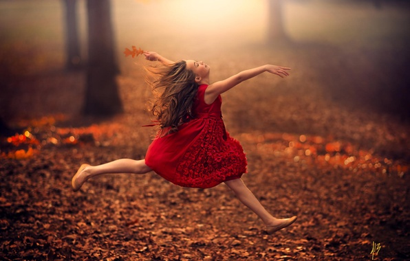 Picture autumn, leaves, jump, elf, child, dance, fairy, girl, girl, flight, red dress, road, dress, jump, …