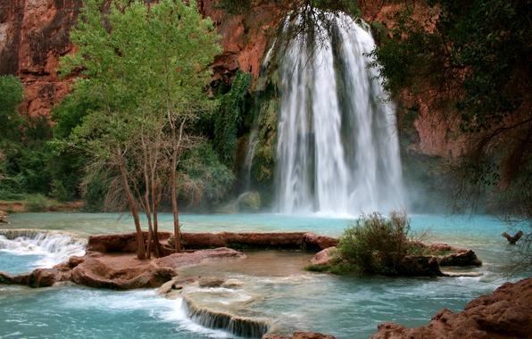 Picture nature, waterfall, Arizona, mountain river, Grand Canyon, Havasupai Indian Reservation, Havasu Falls