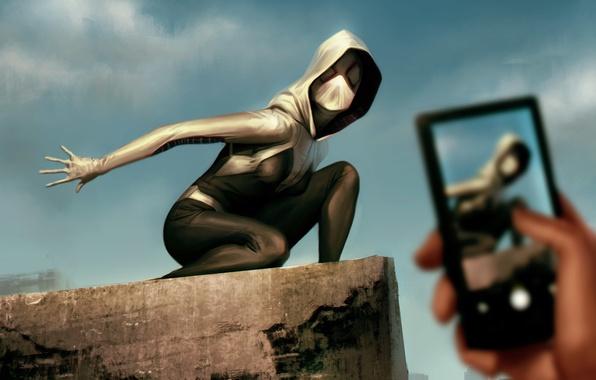 Picture art, phone, Marvel Comics, Gwen Stacy, Spider-Gwen