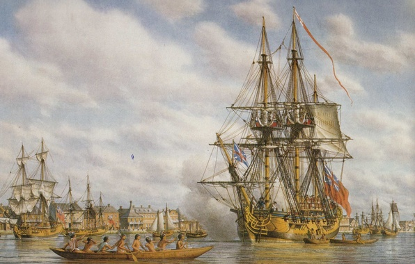 Picture sea, building, oil, ships, picture, port, canvas, buildings, the natives, sailboats, pies, waters