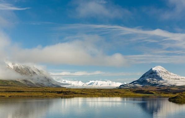 Picture the sky, water, mountains, reflection, Alaska, Alaska, Mountains, Range, North America
