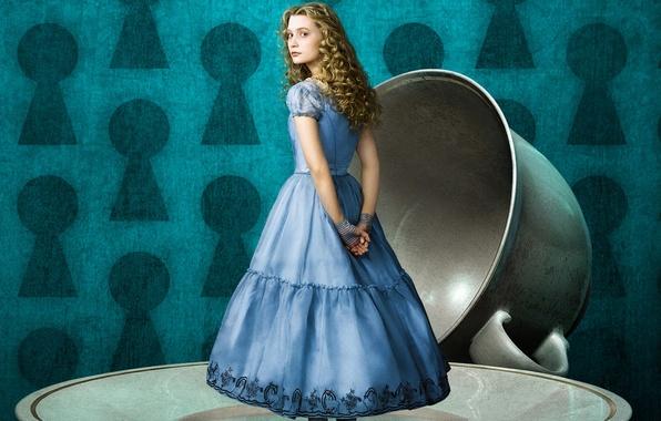 Picture background, fantasy, Cup, Alice in Wonderland, Alice in Wonderland, saucer, MIA Wasikowska, MIA Wasikowska