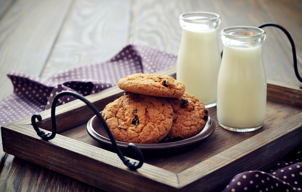 Picture Breakfast, milk, cookies, bottle, cakes, tray