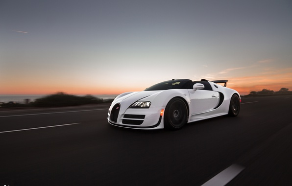 Picture road, speed, the evening, veyron, sport, bugatti, grand, roadster