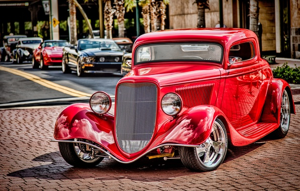 Picture red, retro, Ford, classic, 1934 Ford Coupe