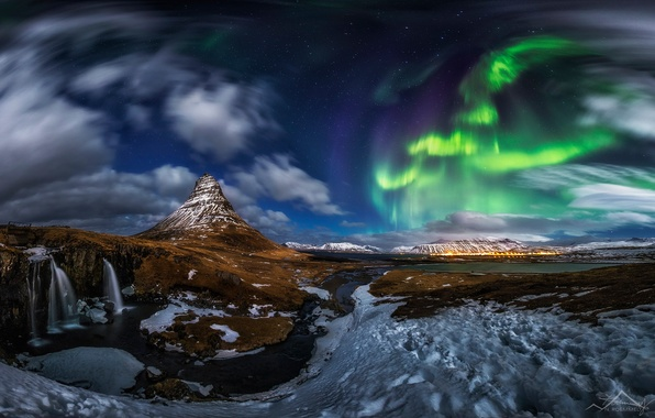 Picture stars, clouds, snow, night, rocks, mountain, waterfall, Northern lights, the volcano, panorama, Iceland, Kirkjufell