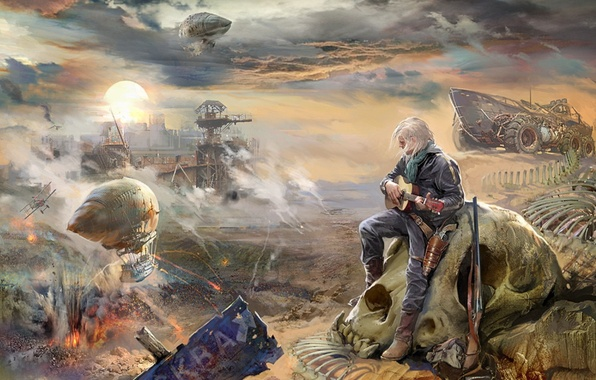 Picture skull, male, teknotika, novel, with a guitar, sandy Blues