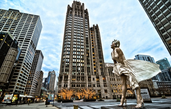 Picture skyscrapers, Chicago, Marilyn Monroe, chicago, Marilyn Monroe, Il