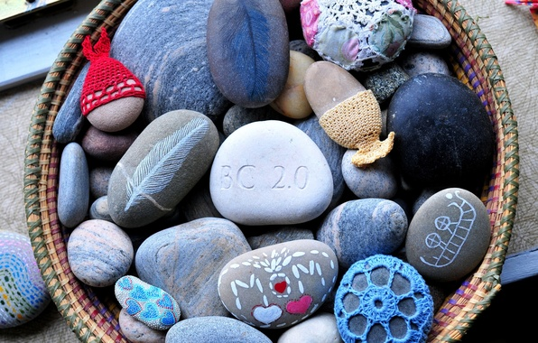Picture stones, colored, knitting, painted, painted