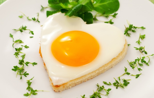 Picture love, heart, egg, food, hearts, scrambled eggs, the yolk, eggs, protein, fried