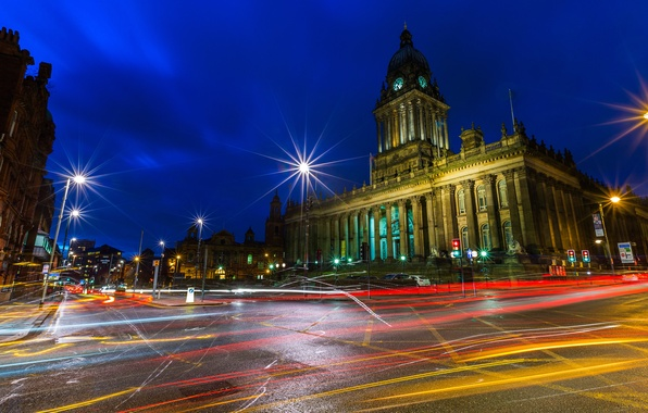 Picture the sky, lights, house, street, England, tower, the evening, the dome, Leeds