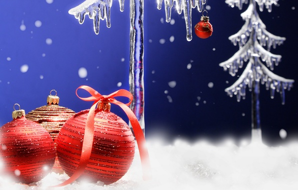 Picture snow, holiday, balls, toys, new year, the scenery, happy new year, christmas decoration, Christmas Wallpaper, …