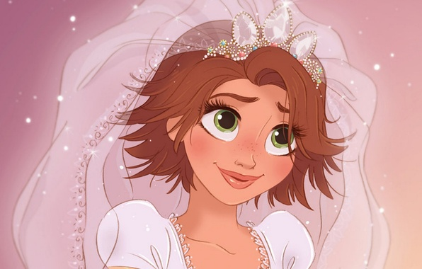 Picture cartoon, Rapunzel, the bride, Princess, wedding, crown, Complicated story, Rapunzel, wedding, bride, Happy forever, Tangled …