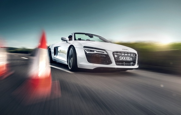 Picture Audi, white, Spyder, Shade Fotoworks