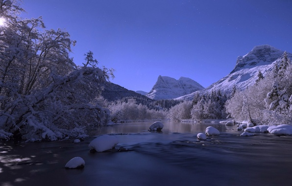 Picture winter, snow, trees, mountains, river, Norway, Norway