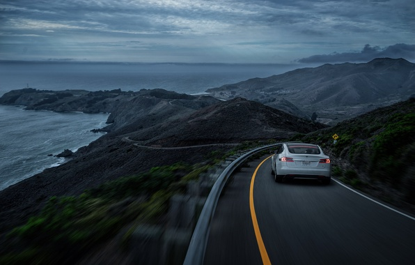 Picture California, White, Tesla, Sea, Rear, P85D, SS Customs, Drank, Grape, Eletric