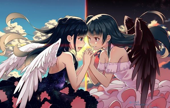 Picture girl, wings, anime, art, love live, host, the age of tsushima