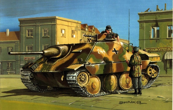 "Photo wallpaper the conversation, WW2, soldiers, easy, Tank destroyers, the city, artillery, ""Hettser, street, figure, plans, discussion, ..."