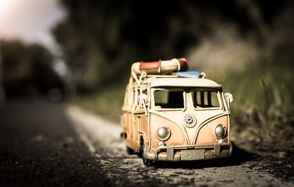 Picture road, asphalt, macro, model, toy, shooting, machine, photo, photographer, minibus, model, Jamie Frith