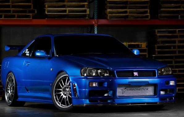 Picture car, Nissan, blue, gt-r, r34, fast and furious, Nissan skyline