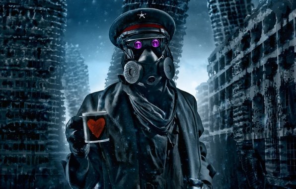 Picture winter, snow, art, mug, gas mask, captain, ruins, heart, comic, romance of the Apocalypse, romantically …