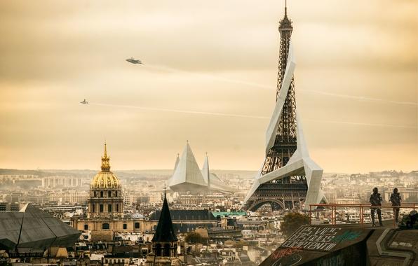 Picture the city, Eiffel tower, Paris, home, Square Enix, art, deus ex, Deus Ex: Mankind Divided, ...