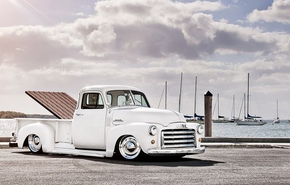 Picture clouds, coast, yachts, pickup, retro, pickup, gmc, c152