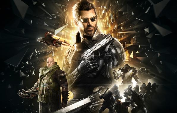 Picture fragments, weapons, armor, cyborg, Square Enix, Adam Jensen, Adam Jensen, enemies, cyborg, Deus Ex: Mankind …