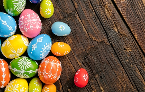 Picture eggs, colorful, Easter, wood, Easter, eggs, decoration, Happy