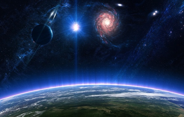 Picture space, surface, star, planet, ring, the atmosphere, galaxy