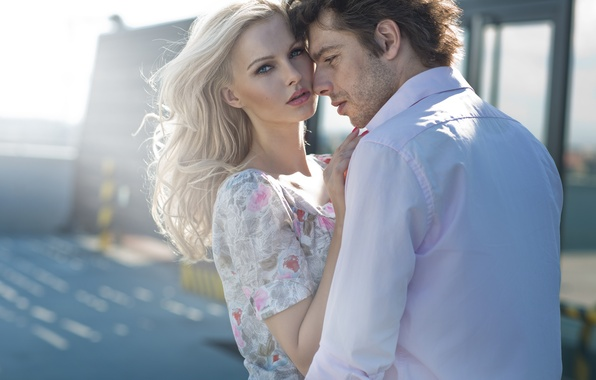 Picture look, girl, the proximity, dress, blonde, pair, guy, Sunny day, curls, charm