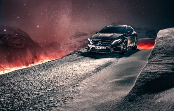 Picture winter, snow, mountains, night, Mercedes-Benz, crossover, GLA