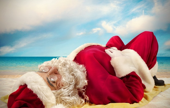 Picture sea, beach, the sky, clouds, hat, the situation, glasses, lies, coat, beard, Santa Claus, red, ...